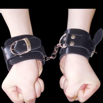 Handfessel mit Verbindungskette – Schwarz