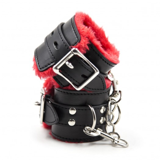 gepolsterte Handfesseln – Schwarz/Rot